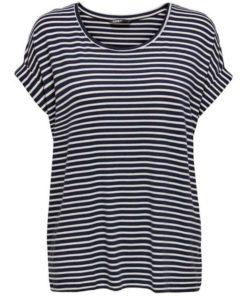 Camiseta-Only-Onlmoster-stripe-neck-azul-marino
